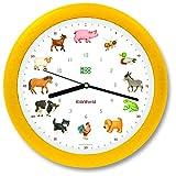KOOKOO KidsWorld gelb, Wanduhr echte Tierstimmen, Bauernhofuhr mit 12 Tieren vom Land, Illustrationen Monika Neubacher-Fesser, Tieruhr mit Lichtsensor