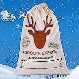 Weihnachtssack für Geschenke Weihnachtsmann Sack Santa Sack Nikolaussack Weihnachtsdekoration Geschenkbeutel für Kinder Jutesack 69cm x 48cm