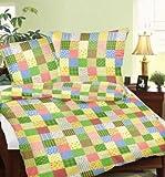 GenießedenSchlaf Seersucker Bettwäsche aus 100% Baumwolle Patchwork Schnittmuster grün, 100% Baumwolle, Grün, 155 x 220 cm