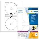 Herma 8624 CD-Etiketten blickdicht (Ø 116 mm, Innenloch klein, auf DIN A4 Papier matt, weiß) 20 Stück auf 10 Blatt, Zentrierhilfe, bedruckbar
