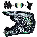 WanSheng Motorrad Motocross Motorradhelme & Windschutzmaske & Handschuhe & SCHUTZBRILLE D.O.T Standard Kinder Quad Bike ATV Go-Kart-Helm Fox (S, M, L, XL),Virtue,S55~56CM