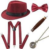 Coucoland 1920s Herren Accessoires Mafia Gatsby Kostüm Set inklusive Panama Gangster Hut Verstellbar Elastisch Hosenträger Herren Halsschleife Fliege Taschenuhr und Plastik Zigarre (Rot)