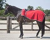 QHP Nierendecke Fleece-Ausreitdecke Color Fleecedecke Sattelausschnitt (XL, Leuchtend Rot)