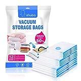 Ohuba 12 Stück Vakuumbeutel, Aufbewahrungsbeutel Reise Vakuum Wiederverwendbar Kleiderbeutel für Kleidung Bettdecken Bettwäsche Kissen Wolldecken Vorhänge Handtücher und vieles mehr