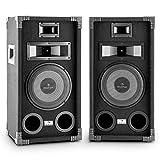 auna PA-800 • PA Lautsprecher Paar • 3-Wege-Boxen • Fullrange PA-Boxen • 2 x 400 Watt max. Leistung • 20 cm (8')-Tieftöner • Mitteltöner • Hochtöner • Frequenzgang: 90 Hz bis 20 kHz • Stereo-Anschlussklemmen • Metallschutzgitter • Tragegriffe • schwarz