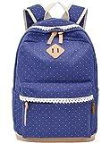3 Teiliges Schultaschen-Set Canvas Schulrucksack + Umhängetasche + Mäppchen für Mädchen Damen Jugendliche (Grau)