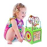 BeebeeRun Holz Activity Cube 6 in 1 Baby Bead Labyrinth Spielzeug pädagogisches Holzspielzeug Geschenk für Kleinkinder und Kinder (Green)