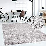 Hochflor Teppich | Shaggy Teppich fürs Wohnzimmer Modern & Flauschig | Läufer für Schlafzimmer, Esszimmer, Flur und Kinderzimmer | Langflor Carpet grau 080x150 cm