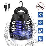 mimoday Elektrisch Fliegenfalle, 2-In-1 Mückenlampe Camping LED Laterne, IP66 wasserdichte Tragbare Zeltlampe, USB Wiederaufladbar für Innen und Außen, Weiß