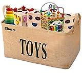 GIMARS Große Spielzeugkiste 20 Zoll Spielzeug Aufbewahrungskiste Spielzeugbox Jute faltbar Aufbewahrungsbox