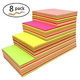 Haftnotizen-Würfel, selbstklebende abnehmbare fluoreszierende Haftnotizen - 8 Pads pro Packung - 100 Blatt pro Block - pro Packung 4 verschiedene Formen innen-76 mm x 76 mm (8-Pack)