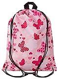 Aminata Kids - Kinder-Turnbeutel für Mädchen und Damen mit Fee-n Wand-deko Wand-Tattoo Blume-n Schmetterling-e Sport-Tasche-n Gym-Bag Sport-Beutel-Tasche rosa pink Rose