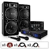 Skytec DJ-20.1 - DJ PA Karaoke Set, Beschallungs Karaoke Anlage, PA-Verstärker mit 1000W Passiv PA-Boxen, Mixer & 2 x Mikrofon, inkl. Kabelset, schwarz