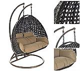 Home Deluxe | Polyrattan Hängesessel | Twin XXL | braun | inkl. Sitz- und Rückenkissen