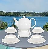 Buchensee Teeset / Teeservice 10-teilig weiß, Teekanne 1,5l mit Teetassen 150ml, Unterteller und Stövchen, Fine Bone China Porzellan, Original Aricola