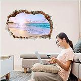 Gebrochene Wandaufkleber Abnehmbare Strand Meer 3D Look Fenster Landschaft Wohnkultur Aufkleber Wandbild Wasserdicht Kunstdruckpapier Poster 40 * 60 Cm