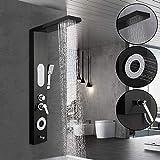WOOHSE Schwarz Duschpaneel aus Edelstahl Multifunktionales Duschsystem Duschset Duschsäule (Regendusche + Massagedusche + Handbrause Dusche mit 3 Funktionen + Normal Auslauf Umstellen)