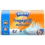 Swirl Tragegriff-Müllbeutel, 5 Liter, Antibakteriell, 4 Rollen mit je 40 Beuteln, Weiß