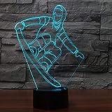 3D USB Snowboard Tischlampe LED bunte Lichter Schlaf Nachtlicht Ski Stil Accessoires Lichter Neujahr Geschenk Ornamente