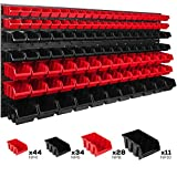 Lagersystem Wandregal 1734 x 780 mm | 117 stck. Box | Stapelboxen Schüttenregal Sichtlagerkästen | Extra Starke Wandplatten | Regal Erweiterbar | Werkstattregal Lagerregal (ITBNN600x6-MIX7)