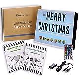Premium LED Lightbox A4 Leuchtkasten mit Farbwechsel, MEGA SET 173 Buchstaben + 90 farbige Emojis + 1,5m USB Kabel Netzteil + Fernbedienung mit Dimmer, Perfektes Weihnachtsgeschenk inkl. Buchstaben