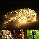 Samoleus 12M 100 LED Lichtschlauch Solar, Wasserdicht IP65 Solar Lichterkette Außen, weihnachtsbeleuchtung Aussen für Party und Weihnachten (Warmweiß)