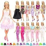 Miunana Lot 15 = 5 Fashion Kleider mit 10 Paar Schuhen Partymoden Kleidung für Barbie Puppen