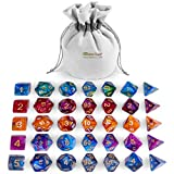 iBaseToy Zweifarbige Polyedrische Würfel, D&D Würfel Set mit Beutel, 5x7 Würfel Set für Dungeons & Dragons Spiel DND RPG MTG D20 D12 D10 D8 D4 D% Brettspiel Spielzeug Geschenk