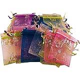 100 kleine, bunte Organzasäckchen mit glänzendem Schmetterlings-Muster - Größe: ca. 9 x 7 cm - Farbig gemischte Schmuckbeutel für Geschenke, Schmuckaufbewahrung oder zum Verpacken