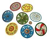 MEIERLE & Söhne 8 große bunte Holz Kreisel 9,7 cm Durchmesser Basteln Holzkreisel Set mit Muster von