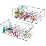 mDesign 2er-Set Aufbewahrungsbox mit je 5 Fächern – stapelbarer Medikamenten Organizer mit Deckel – aus BPA-freiem Kunststoff zur Vitamin-Aufbewahrung im Medizin-Schrank – durchsichtig