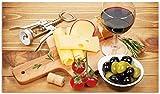 Wallario Herdabdeckplatte/Spritzschutz aus Glas, 1-teilig, 90x52cm, für Ceran- und Induktionsherde, Genuss am Abend - Rotwein, Käseplatte, Oliven und Tomaten