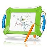TTMOW Verdicktes Zaubertafel Kinder Maltafel für Kinder ab 2 ab 3 mit Magnetische Stempel, Lerntafel Reißbrett Kindergeschenk, Hinzugefügter Bereich für Malerei (Grün)