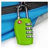 TRIXES 4-stelliges TSA-Vorhängeschloss Zahlenschloss für Gepäck, Tasche, Koffer – Grün