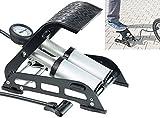 AGT Fusspumpe: Hochleistungs-Fußluftpumpe, Doppel-Stahlzylinder, Manometer bis 7 bar (Fahrrad Luftpumpen)