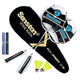 Senston Graphit Badminton Set Carbon Badmintonschläger Badminton Schläger Set mit Schlägertasche - 2 Farbe