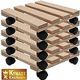 Fünf Pflanzenroller Holz MASSIV aus stabilem Buchenholz eckig 30 cm x 30 cm bis 120 KG