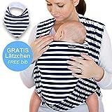 Babytragetuch Marineblau mit Streifen - hochwertiges Baby-Tragetuch für Neugeborene und Babys bis 15 kg - inkl. GRATIS Baby-Lätzchen