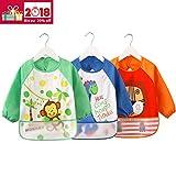 3er Pack ÄrmelLätzchen Wasserdicht Baby lätzchen - Essen und Play Smock Schürze für Kleinkinder von 6 - 36 Monate