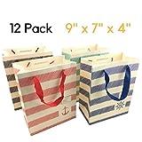 Hochwertige Geschenktasche [12 Stück] Papiertüte Präsenttüten im 4 Design. Geschenktüte für Geburtstag, Hochzeit,Weihnachten und Gastgeschenke