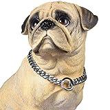 PROSTEEL Hundehalsband Starke Edelstahl Kette 15MM Silber Farbe Kragen Panzerkette Trainings Kragen Halskette für Hund Haustier Hals Seil, Länge 51cm