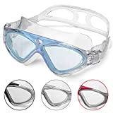 Schwimmbrille Erwachsene Anti Fog Ohne Leakage deutlich Anblick UV Schutz 180°Weitsicht Einfach zu anpassen,Professional Super komfortabeler Schwimmbrille für Herren und Damen(Blue/Clear Lens)
