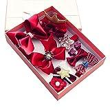 Cozywind Haarspangen Haarbögen für Mädchen Baby Haar Clip für Kinder Boutique Haarklammern Haarschmuck Set mit Geschenkbox für Kleinkind Barrettes 10pcs (Weinrot)