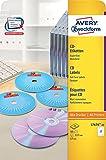 Avery Zweckform L7676-25 CD-Etiketten (A4, 50 Stück, Ø 117 mm) 25 Blatt weiß