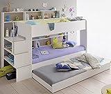 90x200 Kinder Etagenbett Weiß/grau mit Bettkasten Treppe und Geländer