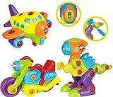 Zerlegbares Spielzeugset für Kleinkinder TG 651 - 3 in 1 zerlegbares Spielzeugset für Jungen mit Lichtern und Geräuschen. Bauen Sie Ihr eigenes Flugzeug, Dinosaurier-Spielzeug und Motorrad