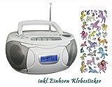 Denver tragbares Radio, CD, Kassettenspieler, Aux-In, Batterie und Netzbetieb, inkl. Einhorn Sticker (Weiß)