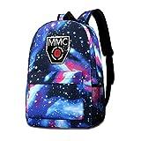Ex-Panse Schultertasche mit Galaxie-Aufdruck MMC-Logo, modisch, lässig, Star Sky Rucksack für Jungen und Mädchen