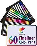 60 Fineliner für Erwachsene und Kinder von Zenacolor - 60 einzigartige Farben (keine Duplikate) – feine Filzstifte 0.4mm – Tinte auf Wasserbasis – Ideal für Kalligraphie, zum Präzisionszeichnen, Schreiben, Malen für Erwachsene, Comics, Manga.