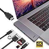 "EKSA USB C Hub 7 in 1 Aluminium Thunderbolt Adapter mit 4K HDMI/Thunderbolt 3/ Ladeport Typ C/SD/Micro SD Kartenleser/ 2 * USB 3,0 Anschlüss für 2016/2017/2018 MacBook Pro 13""und 15""(7 IN 1)"